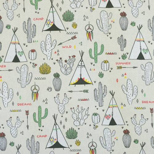 Coton grège imprimé cactus et tipi