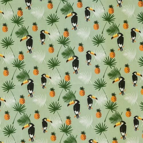 Coton vert clair imprimé jungle toucan