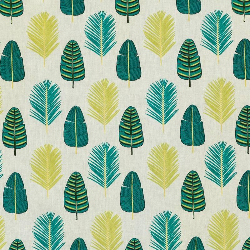 Coton blanc imprimé feuille de palmier