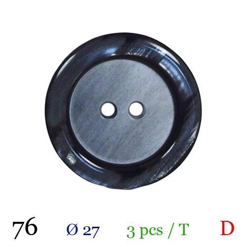 Bouton nacré noir rond 2 trous 27mm