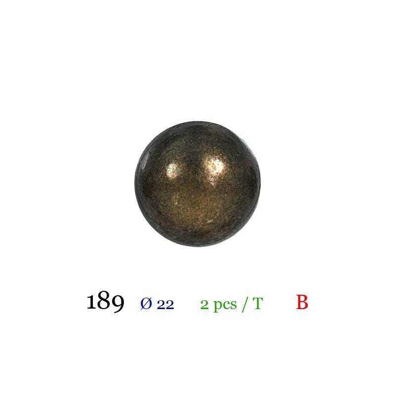 Bouton doré métal bombé à queue 22mm