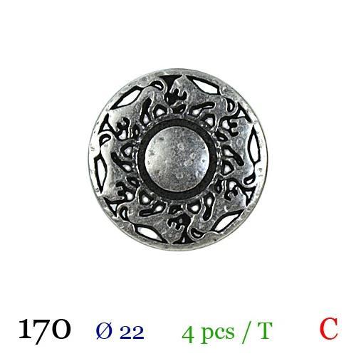 Bouton argenté métal rond motif lion à queue 22mm