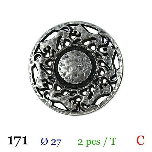 Bouton argenté métal rond motif lion à queue 27mm
