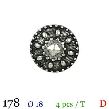Bouton argenté métal rond vintage à queue 18mm