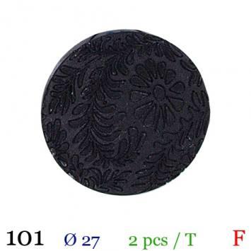 Bouton noir fleuri rond à queue 27mm