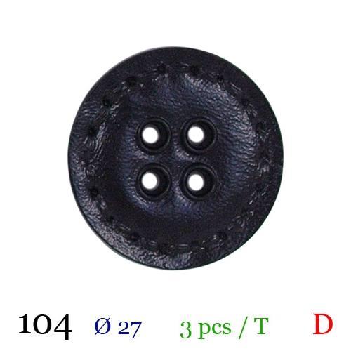Bouton aspect cuir surpiqué noir rond 4 trous 27mm