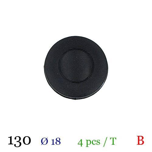 Bouton rond noir à queue 18mm