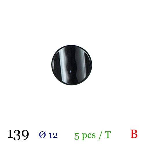 Bouton noir à queue 12mm