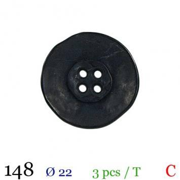 Bouton aspect vieilli noir rond 4 trous 22mm