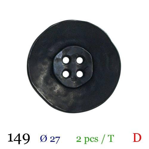 Bouton aspect vieilli noir rond 4 trous 27mm