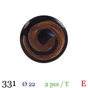 Bouton bois spirale noir rond à queue 22mm