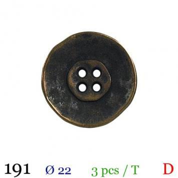 Bouton doré métal rond 4 trous 22mm