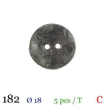 Bouton argenté métal rond 2 trous 18mm