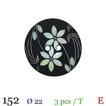 Bouton noir à fleurs rond 2 trous 22mm