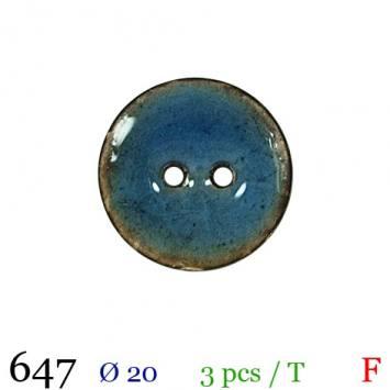 Bouton nacré bleu 2 trous 20mm