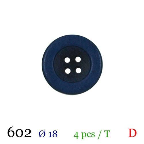 Bouton aspect bois bleu rond 4 trous 18mm