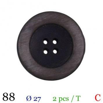 Bouton aspect bois gris rond 4 trous 27mm