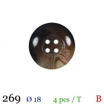 Bouton gros bord marron rond 4 trous 18mm