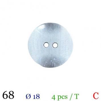 Bouton nacré gris clair rond 2 trous 18mm