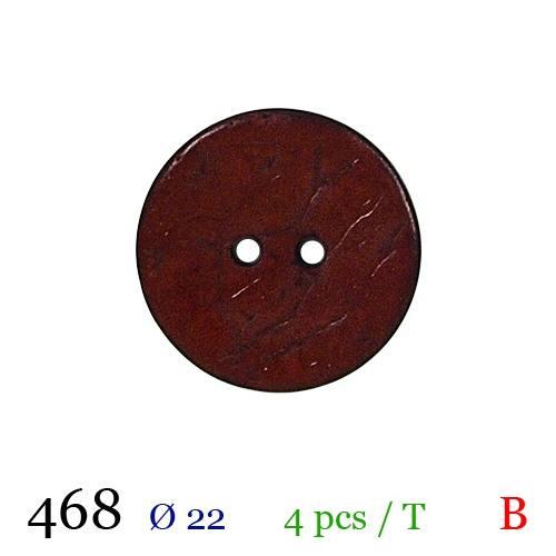 Bouton bordeaux mate rond 2 trous 22mm
