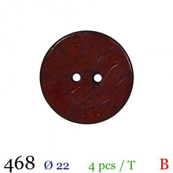 Bouton bordeaux mate rond 2 trous 22mm