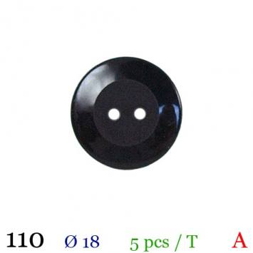 Bouton brillant noir rond 2 trous 18mm