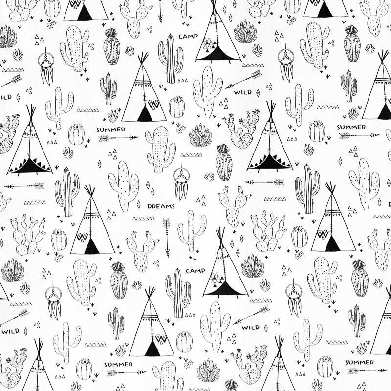Tissu coton colorier motif cactus pas cher tissus price - Coloriage cactus ...