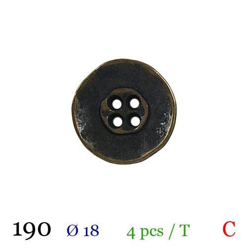 Bouton doré métal vieilli rond 4 trous 18mm