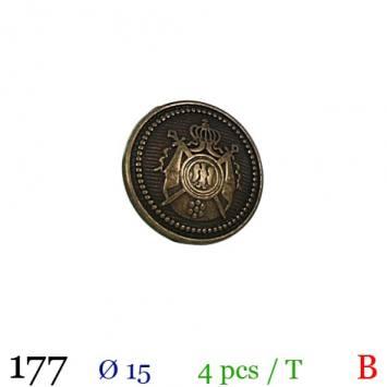 Bouton doré métal rond motif écusson à queue 15mm