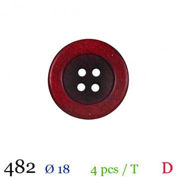 Bouton aspect bois rouge rond 4 trous 18mm