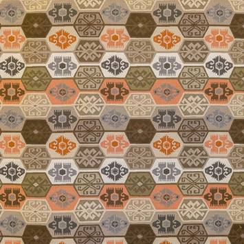 Jacquard orange, marron et gris motif aztèque
