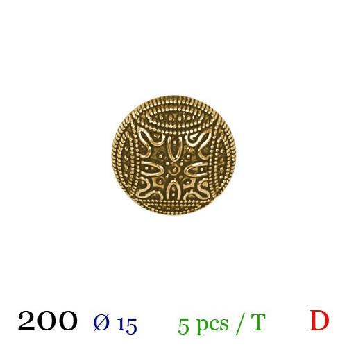 Bouton doré métal bombé motif mosaique à queue 15mm