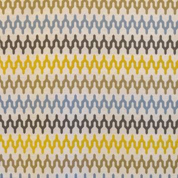 Jacquard motif graphique jaune, bleu, gris