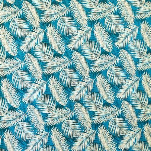 Jacquard bleu et blanc motif végétation