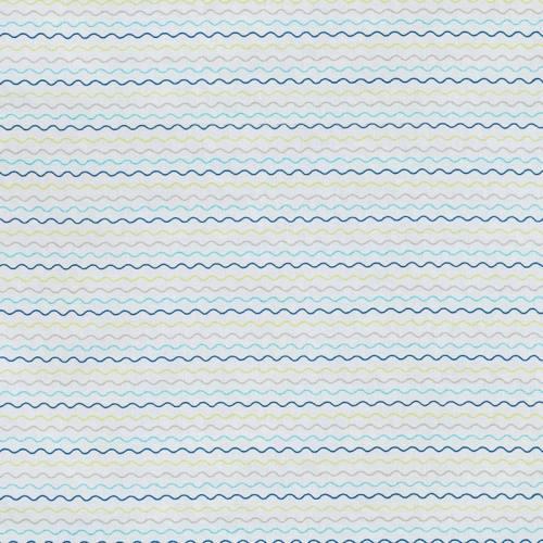 Coton blanc imprimé vague bleue, verte et grise