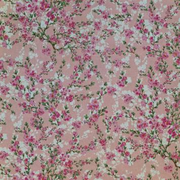 Toile polycoton rose aspect lin imprimé fleurs