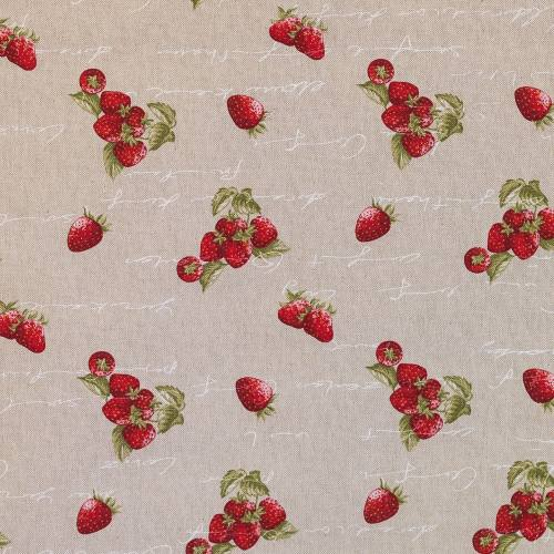 Toile polycoton aspect lin imprimé fraise