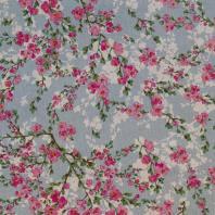 Toile polycoton bleue aspect lin imprimé fleurs