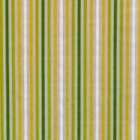 Toile polycoton aspect lin rayures vertes et blanches