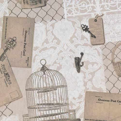 Toile polycoton aspect lin imprimé cage à oiseaux