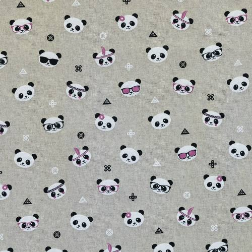Toile polycoton aspect lin imprimé pandas