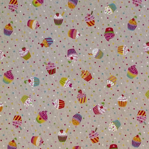 Toile polycoton aspect lin imprimé cupcakes
