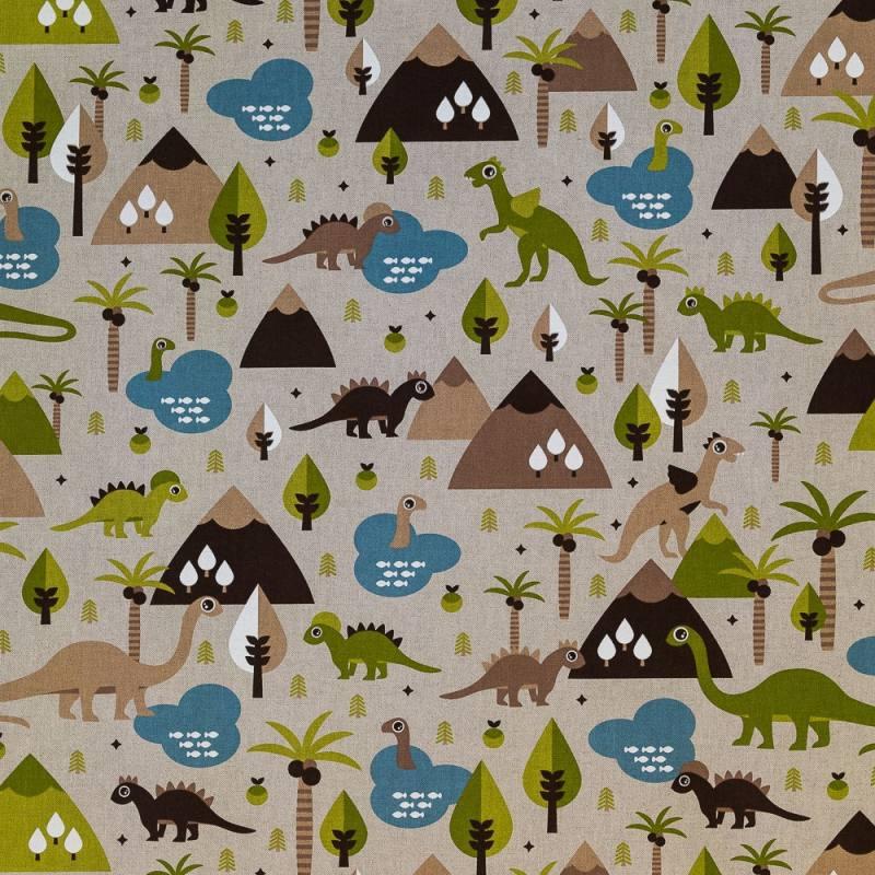 toile polycoton aspect lin imprim dinosaures pas cher. Black Bedroom Furniture Sets. Home Design Ideas