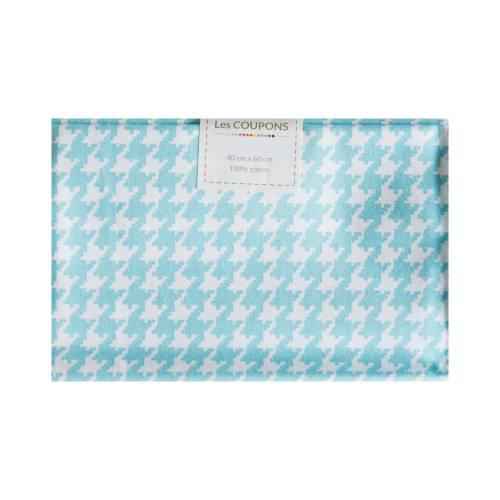 Coupon 40x60 cm coton turquoise pied de poule