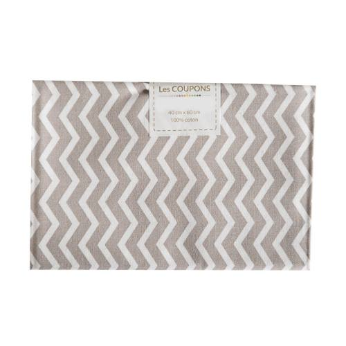 Coupon 40x60 cm coton taupe chevron