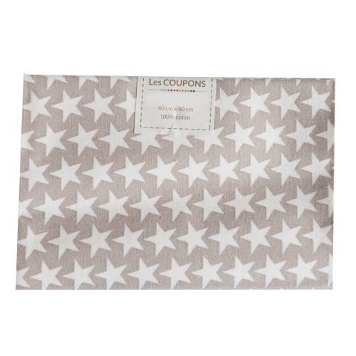 Coupon 40x60 cm coton taupe étoiles monroe