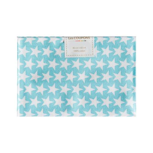Coupon 40x60 cm coton turquoise étoiles monroe