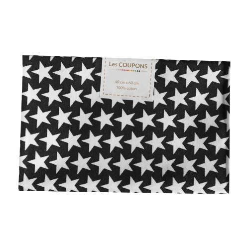 Coupon 40x60 cm coton noir étoiles monroe