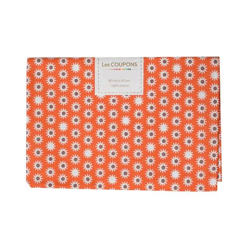 Coupon 40x60 cm coton pik orange et marron