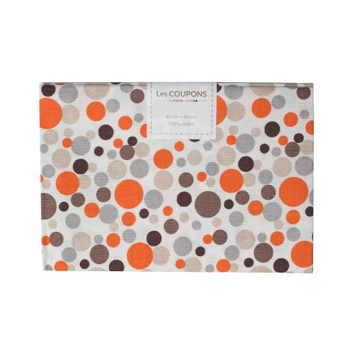 Coupon 40x60 cm coton melo orange et marron